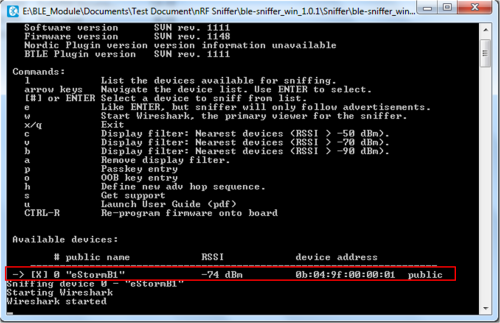 Nordic Sniffer application for BLE