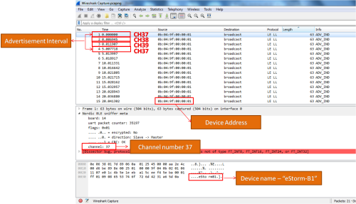 Wireshark capture of BLE Advertisement interval
